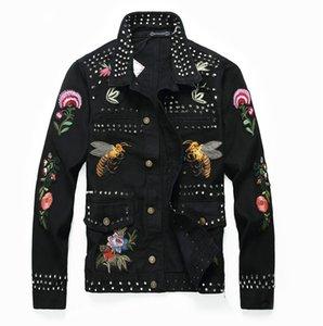 Men's fashion rivet flower bees embroidery black jacket Long sleeve slim denim coat Short design embroidered jacket Vintage B500607