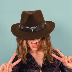 2020 Fedoras Şapka Kış Erkekler Kadın Dokuma Kovboy Şapkası Klasik Cattleman Açık Partisi Kepçe Fedoras Şapkalar Güneş Caps