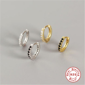 ROXI pequeno brincos de argola Gold Filled Limpar Cubic Zirconia Rodada brincos de argola para Mulheres Jóias 100% 925 Sterling Silver Earring