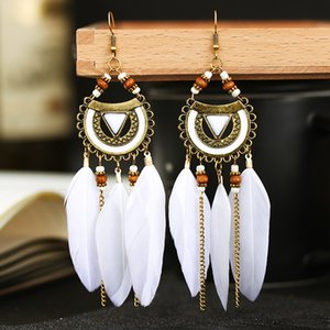 Explosion semicircular alloy feather earrings popular long European and American pearl earrings inlaid turquoise ethnic style jewelry