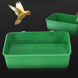 1Pc Pet Bird Parrot Bath Tub Plastic Multi-purpose Food Container Pet Cleaning Supplies Tools Green