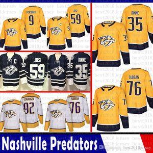 baratos Nashville Predators 35 Pekka Rinne 76 P. K. Subban Hockey Jerseys 9 Filip Forsberg 92 Ryan Johansen 59 Roman Josi Jersey 2018 2019 Novo