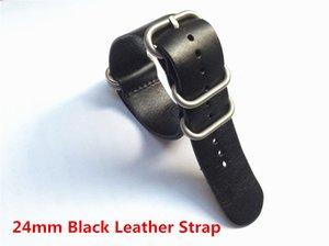 24 milímetros Handmade Preto PU de couro pulseira Sport Watch Strap banda para Suunto Core Nato Pulseira Zulu