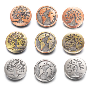 10 unids / lote Más Nuevo 3 Colores World Map Metal Ginger Snap Button Fit Jengibre Snaps Pulseras Joyería para mujeres hombres regalos Vn-2027
