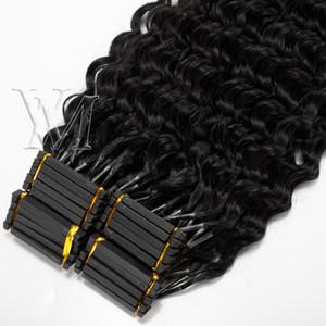 Afro rizado rizado recta Deep Water Yaki 4A 4B 4C cutícula Alineados Virgen de Remy 6D pre consolidadas india brasileña Extensiones de cabello humano