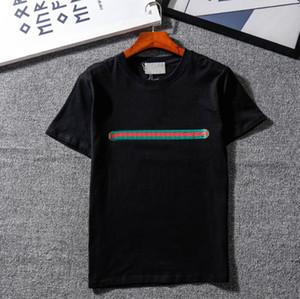 20SS Новые футболки для мужчин Женские летние Дышащие Свободные шорты рукава Letters полосатой Печатается Tops Мужская футболка