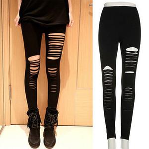 Mulheres Sexy Goth Punk Slashed rasgado Cut Out Slit Pants Stretch Leggings preensão preto Mulheres Pencil Leggings