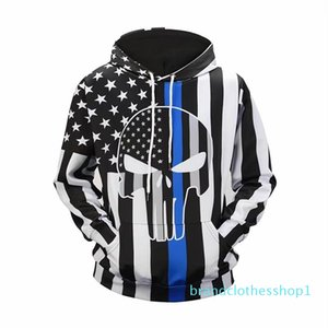 Fashion-halloween mens designer hoodie autumn winter luxury 3D print US flag hoodies men skull sweatshirt lovers stripe streetwear