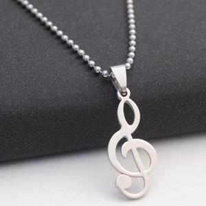 10New aço inoxidável cadeia Clef Music Note Símbolo pingente Logo Colar Musical Emblem Talisman Charme Notation presente Sign jóias