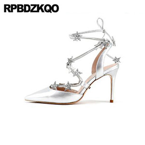 fetish casual stiletto pointed pumps high heels women sandals 2019 summer closed toe silver shoes lace up sequin ladies