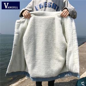 Vangull Yeni Kış Sıcak Kürk Kot Ceket Kadın Bombacı Ceket Mavi Denim Kadın Ceket Tam Sıcak Astar Ön Düğme cepler