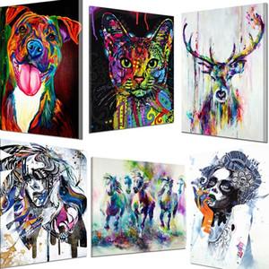 Sin marco de bricolaje Pintar por números jirafa colorido Animales Kit de pintado a mano la pintura al óleo para el regalo único hogar decoración de la pared 40x60cm artes