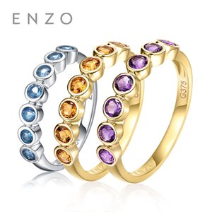 ENZO 0,32 Ct Natural Genuine Citrine / Amethyst / Blue Topaz Rings 9K White / Yellow Gold Ring Fine Jewelry
