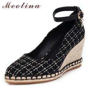 Meotina Talons Chaussures Femme Boucle Wedge talon haut avec boucle cheville Chaussures Couleurs mélangées bout rond Pompes Lady Spring Plus Size 33-43