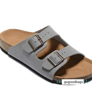 Men's Flat Sandals Women Casual Shoes Double Buckle Famous Arizona Summer Beach Top Quality Genuine Leather Slippers With Orignal Box C22