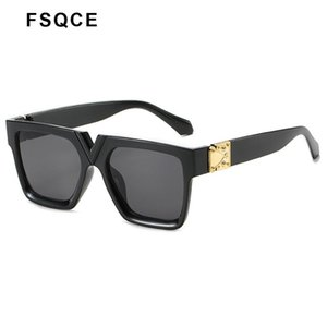 Fsqce 2020 New Square Lunettes de soleil Femmes Big lunettes de cadre avec Metal Décoration Mode Femmes Lunettes de soleil UV400 qJGwc