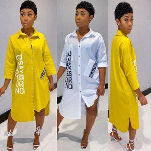 81b9226 Vendita calda Colore solido Lettera stampa Casual Shirt Shirt Dress disponibile