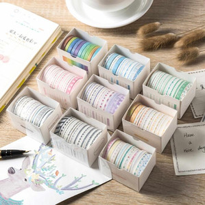10pcs Creative Very Fine Colors Adhesive Tape Suit Stationery Colore Paper Tapes Hand Ledger Stickers 2016 Office & School Supplies HA522