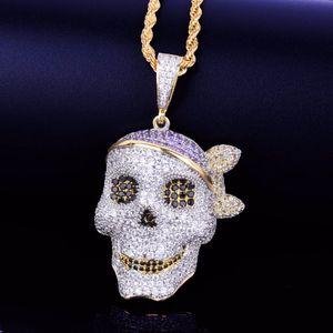 Collana con pendente a teschio da uomo Catena di personalità Oro argento Ghiacciato Cubic Zirconia Gioielli hip-hop in roccia