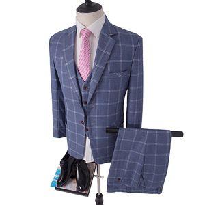 Pale Blue Windowpane Check Tweed Three Piece Suit tailor made slim fit suits for men Blazer(Jacket+Pants+Vest)