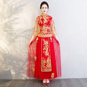 Dragon Phoenix noiva vestido vermelho bordado chinês tradicional vestido de casamento Cheongsam Oriental Vestido Vestido China Qipao