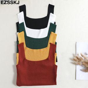 2019 summer short knit Tank Tops Women sexy girls camisole o-neck sleeveless t shirt short female basic camis