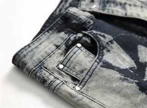 Gri Noktalar Düzenli Erkek Jeans Moda Stretch Uzun Kalem Tasarımcı Pantolon Orta Bel Erkek Pantolon yazdır