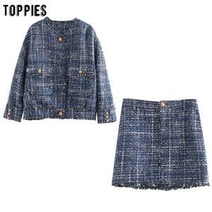 toppies vintage lattice twill tweed jacket skirts womens sets golden button jacket boho tassel mini skirts ladies two piece set T200702