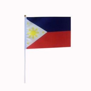 Filipinas Hand Held ondeando la bandera para el uso interior al aire libre, tela de poliéster 100D, haga sus propias banderas