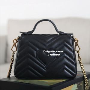 Venta caliente Diseñador de lujo Nuevo estilo Marmont Hombro Bolsas Mujer Cadena de oro Cross Body Bag Bolsos de cuero de la PU Monedero Bolso de mano Messenger femenino