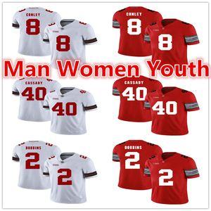 2020 customize NCAA Ohio State Buckeyes футбольные майки Gareon Conley 8 Howard Cassady 40 J. K Dobbins 2 Джерси любое имя номер S-5XL