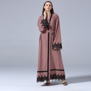 2018 Abaya Dubai Muslim Dress Abayas For Women Fashion Islamic Clothing Long Turkish Abayas Lace Open Arabic Pakistan Plus Size