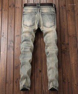 Bordado del gradiente pantalones vaqueros de diseño para hombre pantalones vaqueros para hombre del diseñador de la moda del resorte retro Moto prensan