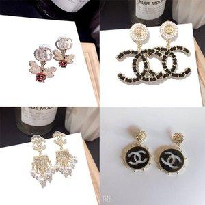 New letra C designer brincos para mulheres moda Pérola Stud Earringes Diamante de luxo Argola Presentes da jóia de ouro de alta qualidade