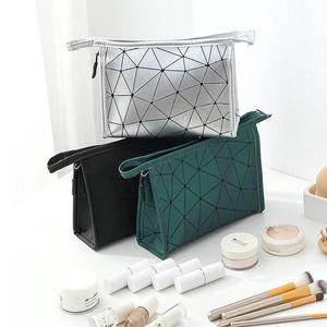 Rhombus armazenamento Cosmetic Bag Moda Lady PU impermeáveis 3D Zipper sacos de armazenamento portátil Mulheres Geometric Rhombus cosméticos Bolsa WY527Q