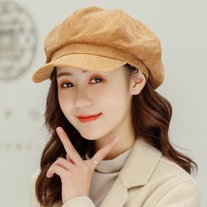 HT2949 Beret mujeres de primavera sombreros de otoño para la Mujer Mujer sólido Artista Pintor sombrero de época pana octogonal vendedor de periódicos del sombrero de la boina del casquillo