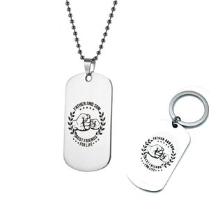 Stainless Steel Necklace Keychain Father and Son Key Chain for Men Military Tag Ball Chain Necklace Best Jewelry Gift for Daddy Son