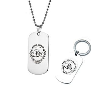Edelstahl-Halskette Keychain Vater und Sohn Schlüsselanhänger für Männer Military Tag Kugelkette Besten Schmuck-Geschenk für Papa Son