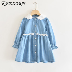 Keelorn Denim Dress for Girl Toddler Princess Long Sleeve Dress Kids Baby Party Wedding Pageant Denim Dresses 3-8T Costume