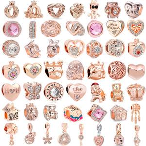 50pcs frete grátis / lote (cada um) Rosa de ouro charme misto europeu talão encantos de pandora ajuste pulseira para as mulheres jóias diy M001