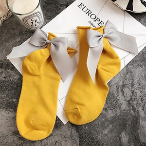 Cute Women Bowknot Soft Breathable Ankle High Casual Cotton Socks Fashion