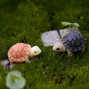 XBJ015 miniatura Decoração 2 pcs Ornamento da tartaruga dos desenhos animados Crafts Jardim Resina Decor Terrário Figurines Micro Paisagem