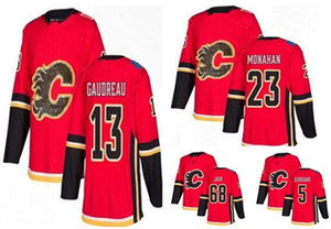 Calgary Flames Red Home Moda Masculina de Ouro Costurado Hockey Jerseys, homens 13 Gaudreau 23 Monahan 5 GIORDANO 68 JAGR Loja online de hóquei sobre o desgaste