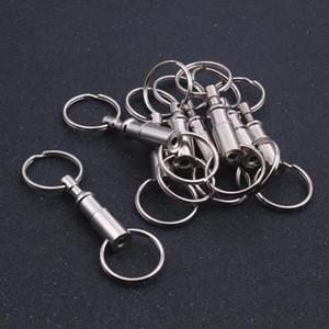 Doble desmontable Llavero Snap Lock Holder 10pcs de 8 cm de acero chapado en cromo se separan rápida llavero Llavero de lanzamiento