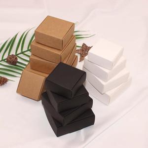 100PCS / 많은 갈색 자연 크래프트 상자, 보석 상자 포장 검은 크래프트 종이, 흰색 작은 비누 상자, 사탕 종이 상자에 포장을 12sizes