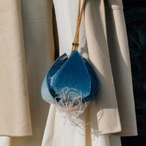 Velvet Totes Mini Women Lantern Bud Buckets Tassel Handbags Small Chain Evening Shoulder Bags Wedding Purses 2020 New Lady Gift