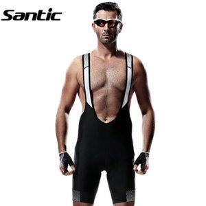 Santic Erkekler Bisiklet Şort Nefes Mesh Bisiklet Bisiklet Önlüğü Şort + 4D yastıklı Spandex bretelle Ciclismo