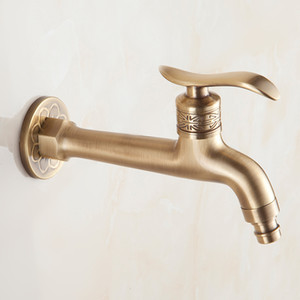 Long Bibcock Laundry Faucet Antique Brass Bathroom Mop Sink Faucets Outdoor Garden Crane Wall Mount Water Taps
