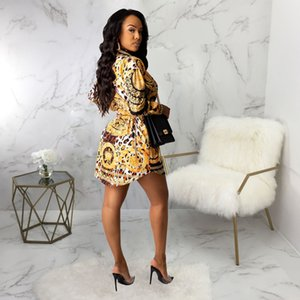 Luxury sexy shirt dress leopard print models popular in Europe and America sexy fashion women multicolor print shirt dress