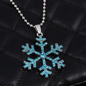 Collar de cristal de copo de nieve 3D Anime Movie The Snow Queen Collar llamativo Collar de copo de nieve colgante